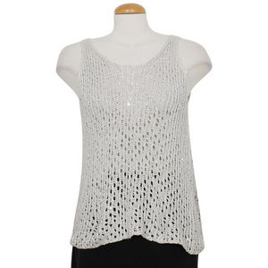 Gray Sequin Chainmail Mesh Cotton Blend Tank S